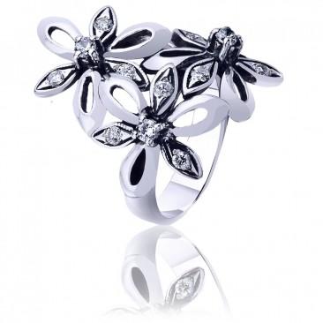 Срібна каблучка «Квіткова феєрія»