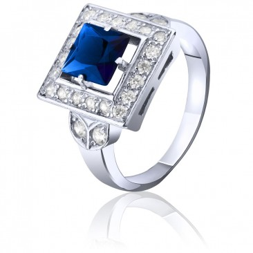 Серебряное кольцо c синим фианитом