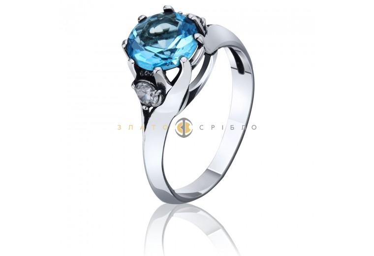 Серебряное кольцо c голубым фианитом