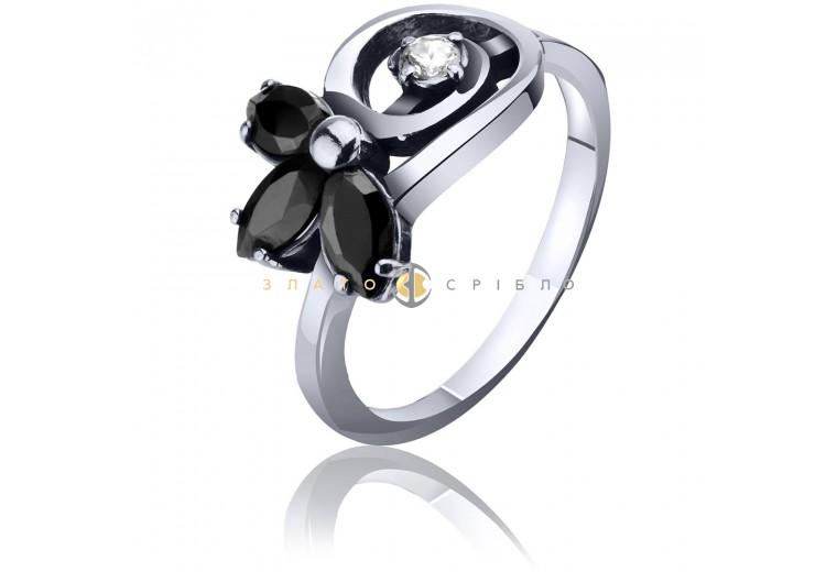Серебряное кольцо c черными фианитами