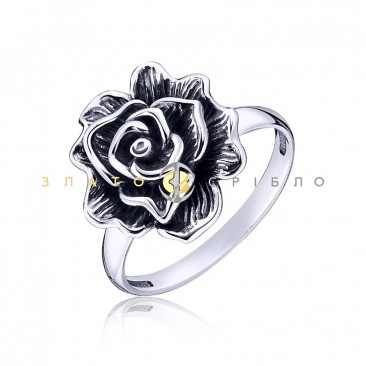 Серебряное кольцо «Королева цветов»