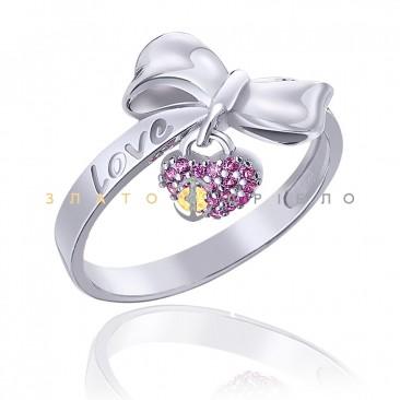 """Серебряное кольцо """"Бантик с сердечком"""""""