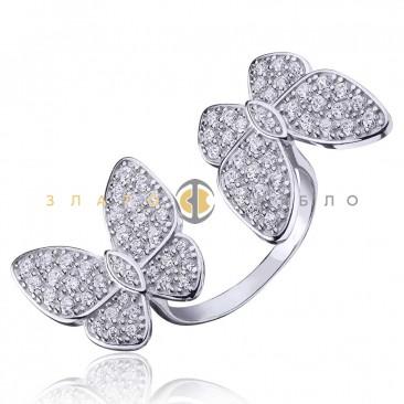 Серебряное кольцо «Танец бабочек»