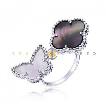 Серебряное кольцо «Черное и белое»
