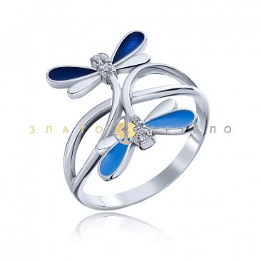 Серебряное кольцо «Голубая стрекоза»