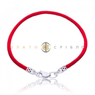 Серебряный браслет  «Красная нить»