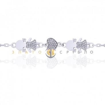 Серебряный браслет «Мамины доченьки»