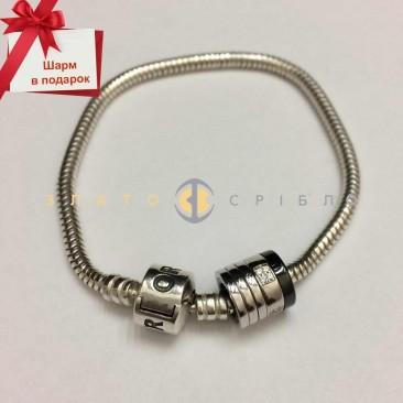 Серебряный браслет «Снейк» для шармов + подарок