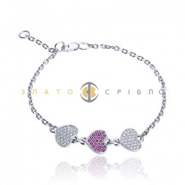 Серебряный браслет «Три сердца»