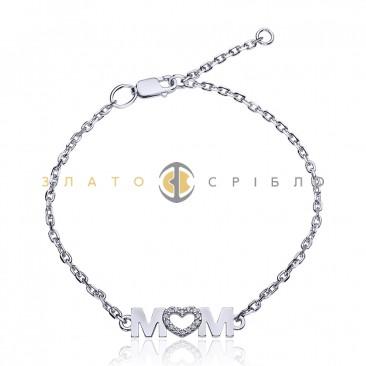 Серебряный браслет «Mom»
