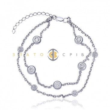Срібний браслет «Гра каменів»