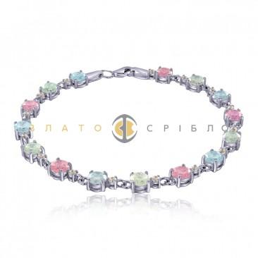 Серебряный браслет «Разноцветная мозаика»