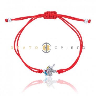 Серебряный браслет «Единорожка» с эмалью