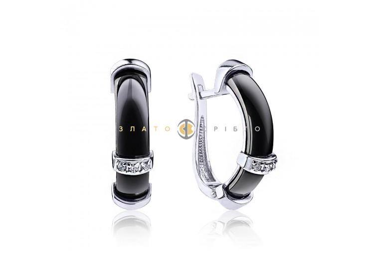 Срібні сережки «Фьюджи» з чорною керамікою