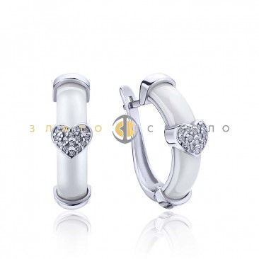 Серебряные серьги «Любимая» с белой керамикой