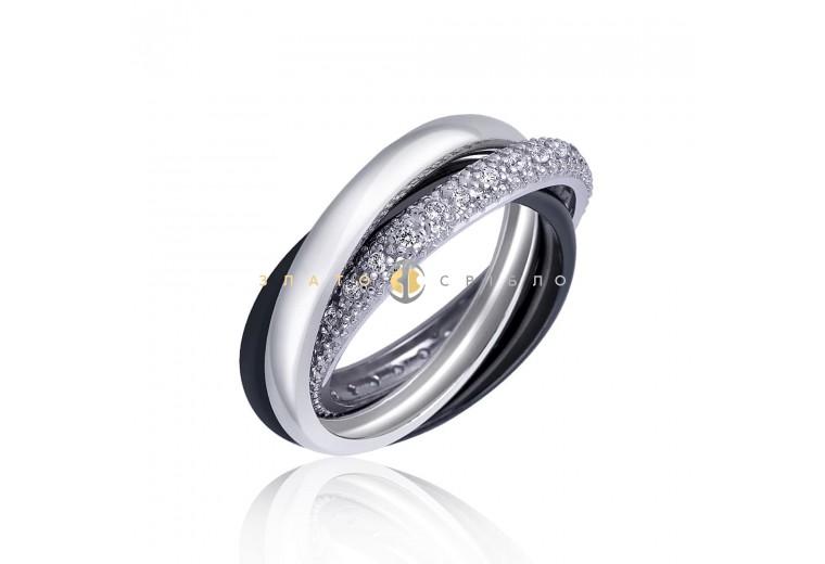 Серебряное кольцо «Тринити» с черной керамикой