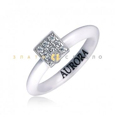 Серебряное кольцо «Ассиметрия» с белой керамикой