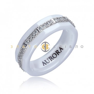 Серебряное кольцо «Астория» с белой керамикой