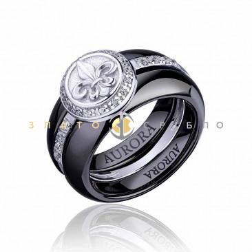 Серебряное кольцо «Fashion геральдика» с черной керамикой