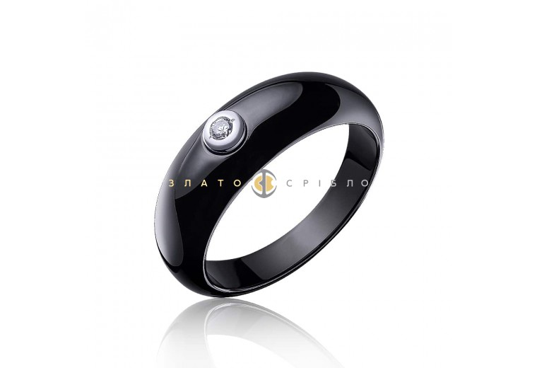 Серебряное кольцо «Джина» с черной керамикой