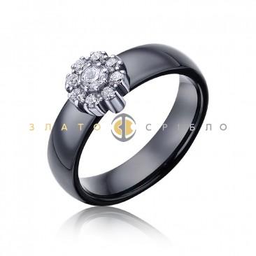 Серебряное кольцо «Флоренция» с черной керамикой