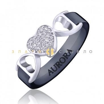 Серебряное кольцо «Жозефина» с черной керамикой