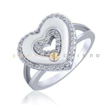 Серебряное кольцо «Сильвия» с белой керамикой