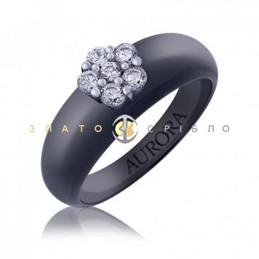 Серебряное кольцо «Барселона» с черной керамикой