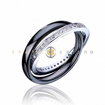 Серебряное кольцо «Узы любви» с черной керамикой