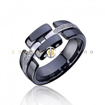 Серебряное кольцо «Freedom» с черной керамикой«