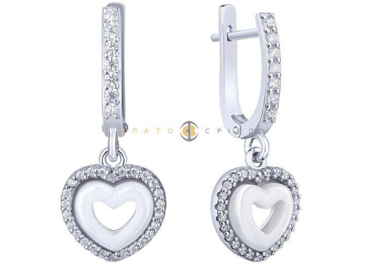 Серебряные серьги «Изабель» с белой керамикой