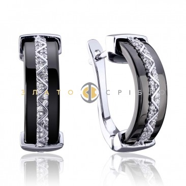 Срібні сережки «Ідеал» з чорною керамікою