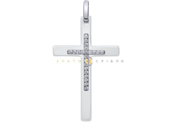 Серебряный крест «Констанция» с белой керамикой