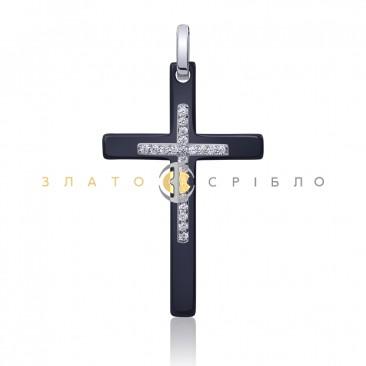 Серебряный крест «Констанция» с черной керамикой