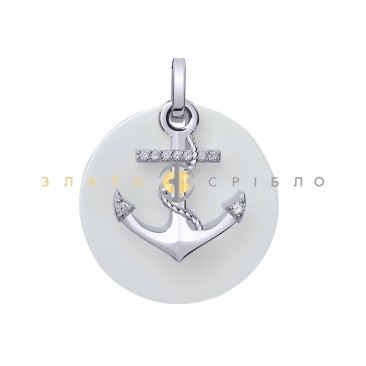 Серебряный подвес «Anchor» с белой керамикой