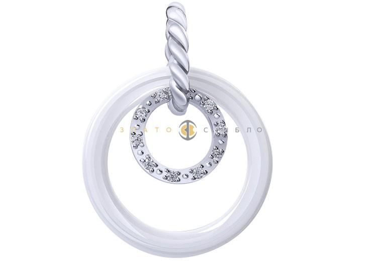 Серебряный подвес «Луара» с белой керамикой