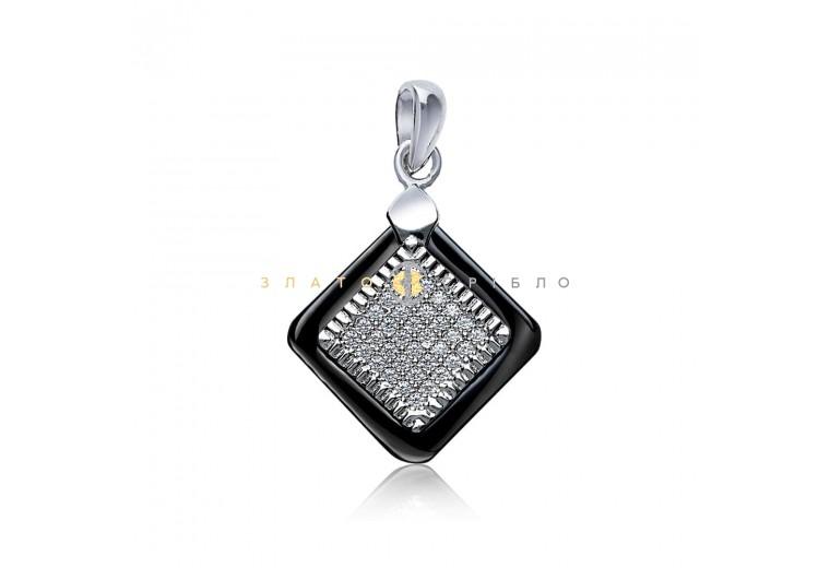 Срібний підвіс «Маре» з чорною керамікою