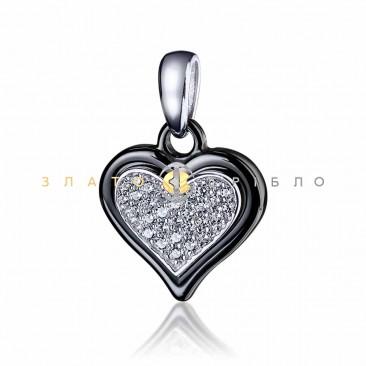 Срібний підвіс «Офелія»  з чорною керамікою