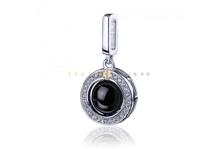 Срібний підвіс «Арабелла» з чорною керамікою