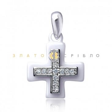 Серебряный крест «Миллениум» с белой керамикой