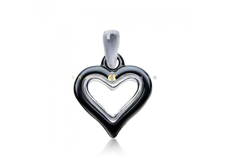 Срібний підвіс «Палаюче серце» з чорною керамікою