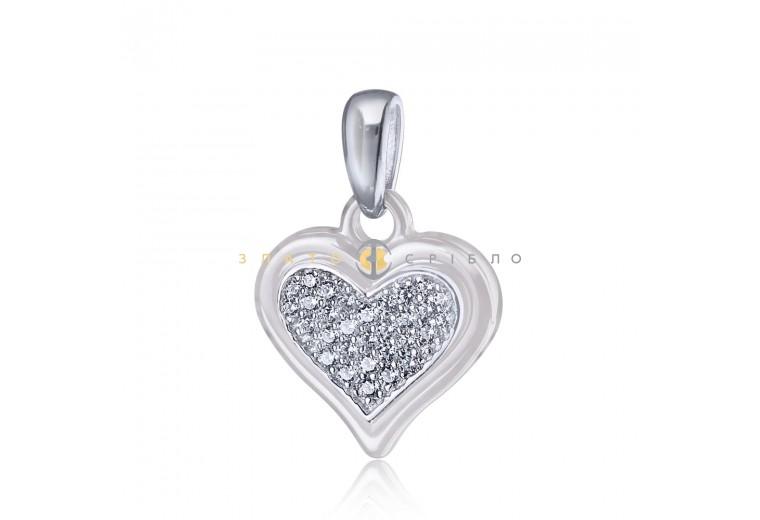 Срібний підвіс «Любляче серце» з білою керамікою