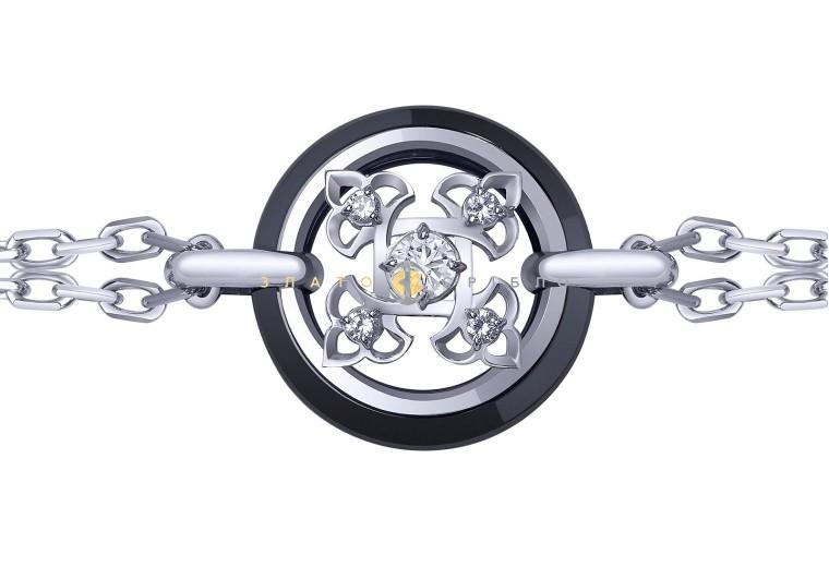 Серебряный браслет «Борджиа» с черной керамикой