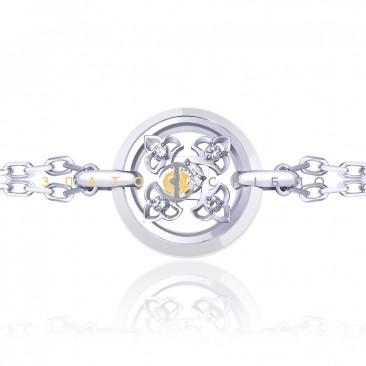 Серебряный браслет  «Борджиа» с белой керамикой