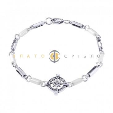 Серебряный браслет  «Роза ветров» с белой керамикой