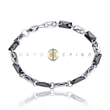 Серебряный браслет «Графит» с черной керамикой
