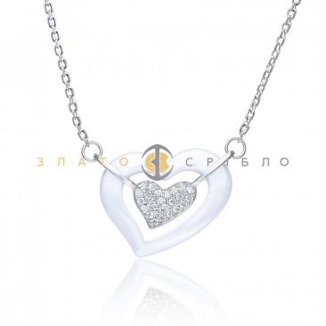 Серебряное колье «Там где сердце»