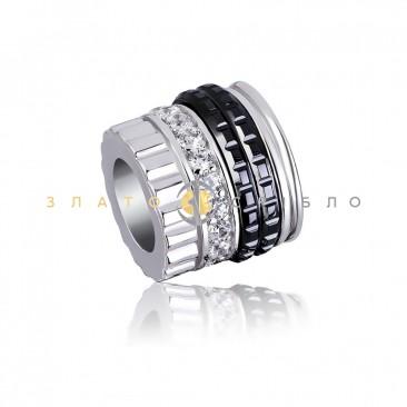 Серебряный шарм «Париж» с черной керамикой