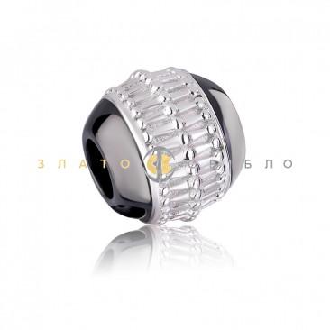 Срібний шарм «Ріміні» з чорною керамікою