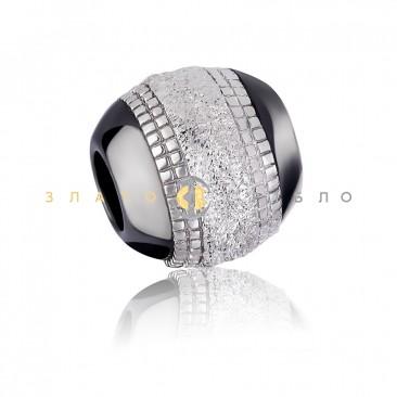 Серебряный шарм «Бишелье» с черной керамикой